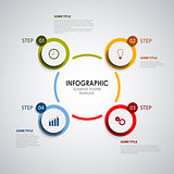 Info graphic with colored rounds design elements template