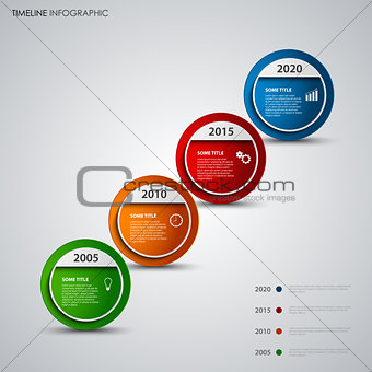 Time line info graphic with round design abstract pointers