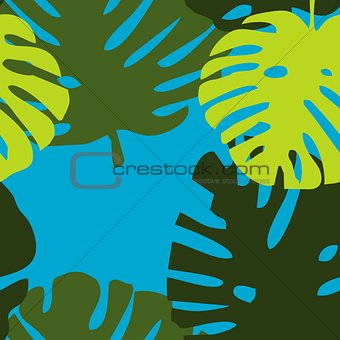 Tile tropical vector pattern with green exotic leaves
