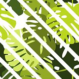 Tile tropical vector pattern with green exotic leaves and white stripes background