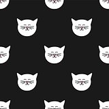 Tile vector pattern with white cats on black background
