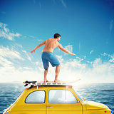 Old car with a surfing boy over the roof. 3D rendering