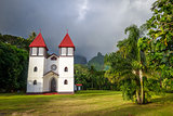 Haapiti church in Moorea island jungle, landscape