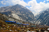 Lodges for traveler on the mountain, in Machpuchare Base Camp. Annapurna Base Camp track.