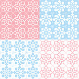 Geometric seamless pattern, Arabic ornament style, tiled design in pink and blue