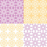 Geometric seamless pattern, Arabic ornament style, tiled design in purple and yellow