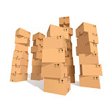 Cardboard boxes stacks