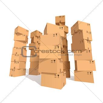 Cardboard boxes stacks