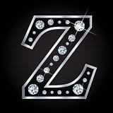 Vector shiny diamond letter isolated on black