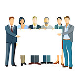 Group of business people presenting a template