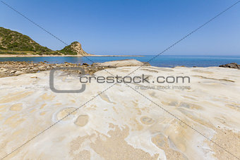 Beach rocks with craters close-up in Karpasia, island of Cyprus