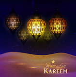 lanterns in the desert at night sky