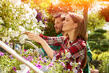 Professional gardeners with plants
