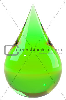 Green drop isolated on white