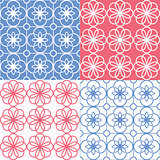 Geometric seamless pattern, Arabic ornament style, tiled design in bnavy blue and red color