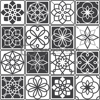 Portuguese Azulejo tiles design, seamless geometric patterns collection in dark grey