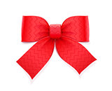 Red bow. Decorative element for gift.