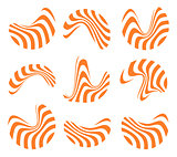 Isolated abstract orange and white logo set of wavy lines, curve shape striped logotype collection vector illustration