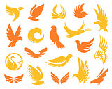 Isolated abstract yellow and orange color birds silhouettes logos collection on white background, wings and feathers elements logotypes set vector illustration
