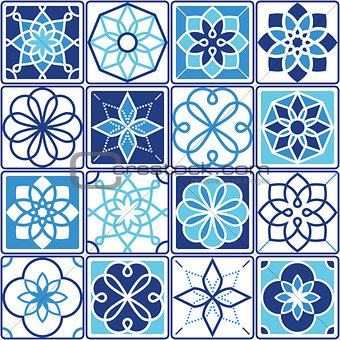 Portuguese Azulejo tiles design, seamless geometric patterns collection in navy blue and turquoise
