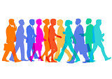 Colorful group of people in movement