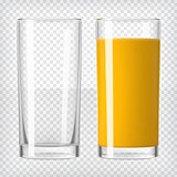 Orange juice and an empty glass