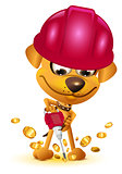 Yellow dog miner mining bitcoin gold coin