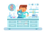 Genetics doctor during work at laboratory