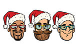 Head Santa Claus multi-ethnic group