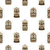 Wooden tiki mask seamless pattern vector.
