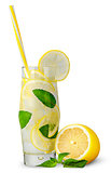 Glass of lemonade with straw