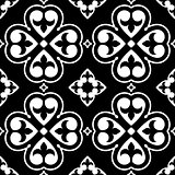 Spanish tiles pattern, Moroccan or Portuguese tile seamless design in black and white