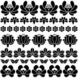 Seamless Hungarian black folk art pattern - floral embroidery