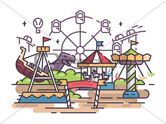 Amusement park with swing and ferris wheel