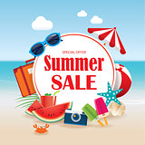 Summer sale background banner design template with colorful beac