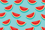 Watermelon slice on blue background. Summer time design banner.