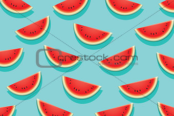 Watermelon slice on blue background. Summer time design banner.