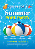 Pool party invitation poster with blue water. Vector summer back