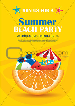 Beach party invitation poster with vacation element . Vector sum