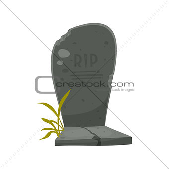 Cartoon Tombstone With RIP Illustration of a funny cartoon halloween tombstone for graveyard landscape with rest in peace inscription