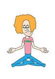 funny yoga man character meditation