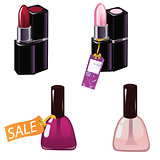 Nail polish and lipstick. Vector illustration of realistic nail polish in glass bottles and lipstick on white background. Discount tags.