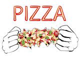 Cartoon Tasty Pizza and Hands