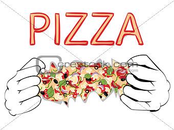 Cartoon Tasty Pizza and Hands