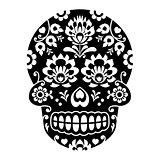 Mexican sugar skull, Halloween skull with flowers - Polish folk art Wycinanki style