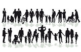 Group of family and member silhouettes