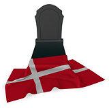 gravestone and flag of denmark - 3d rendering