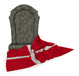 gravestone and flag of denmark - 3d rendering