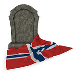 gravestone and flag of norway - 3d rendering