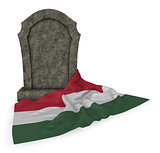 gravestone and flag of hungary - 3d rendering